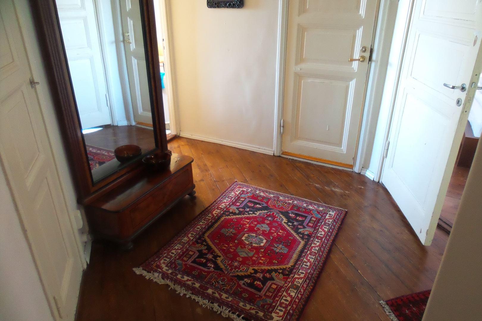 aulasta lähtee 4 ovea: keittiö, makkari, vessa ja olohuone